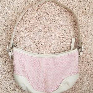 Used Pink & White Coach Purse